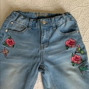 NEVER USED. Beautiful embroidered jean for girls.